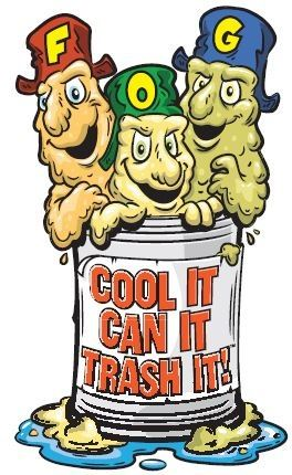 "FOG Cartoon Image Saying ""Cool It, Can It, Trash It!"""